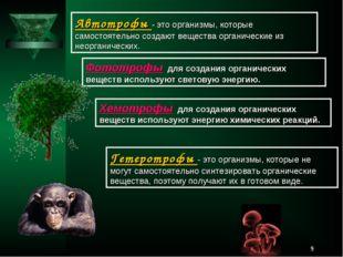 * Автотрофы - это организмы, которые самостоятельно создают вещества органиче