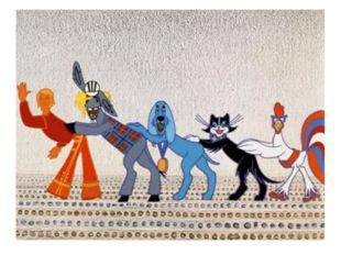 В какой сказке кот, пел и играл на скрипке в команде вместе с ослом, петухом
