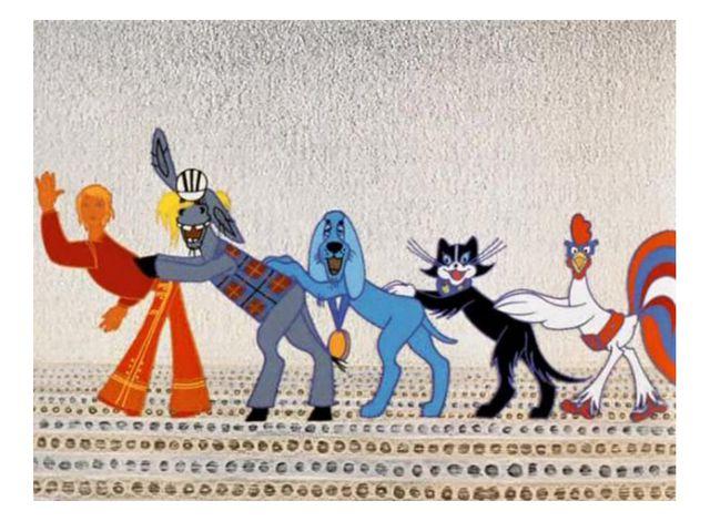 В какой сказке кот, пел и играл на скрипке в команде вместе с ослом, петухом...