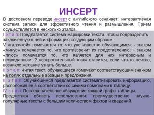 ИНСЕРТ В дословном переводеинсертс английского означает: интерактивная сист