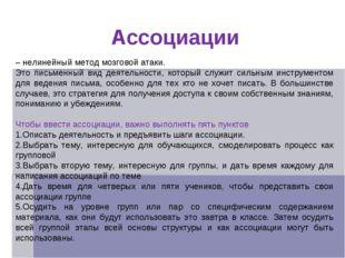 Ассоциации – нелинейный метод мозговой атаки. Это письменный вид деятельности