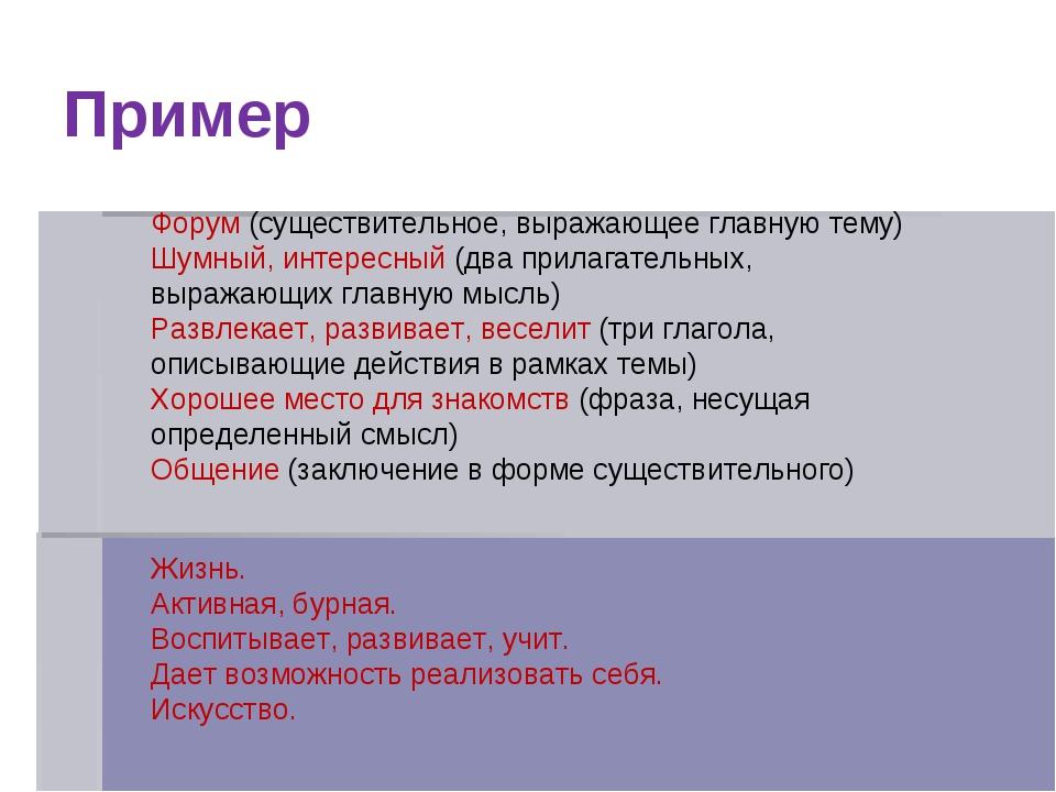 Пример Форум (существительное, выражающее главную тему) Шумный, интересный (д...
