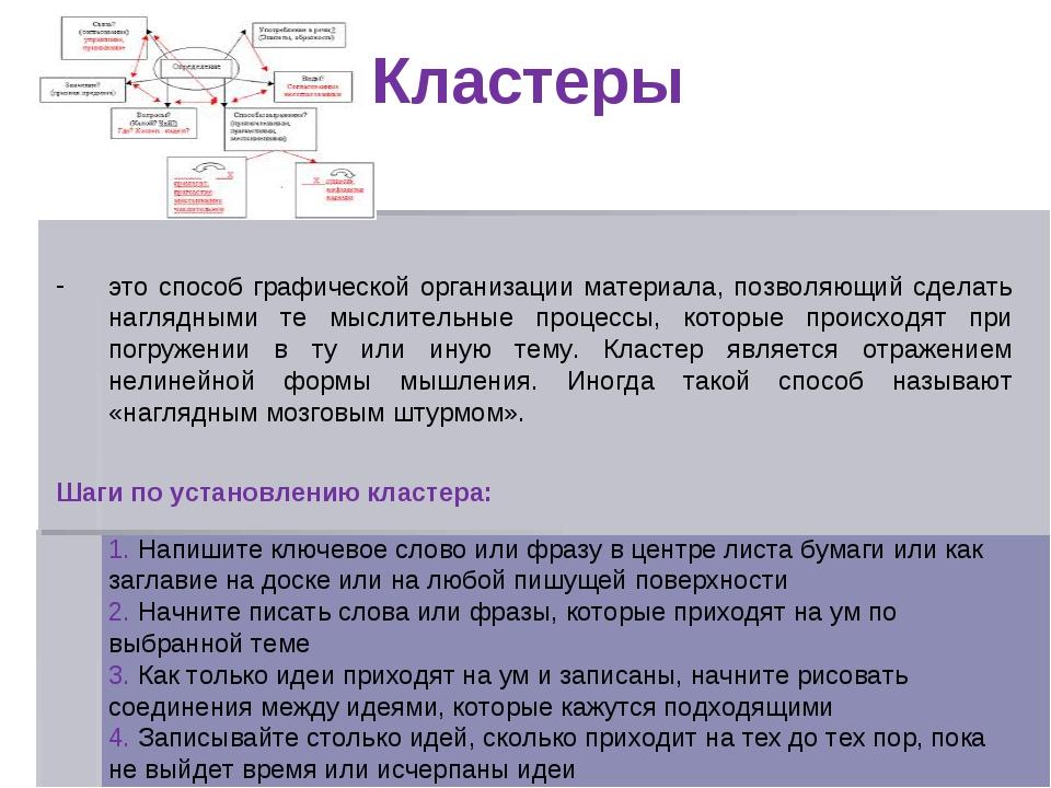 Кластеры это способ графической организации материала, позволяющий сделать н...