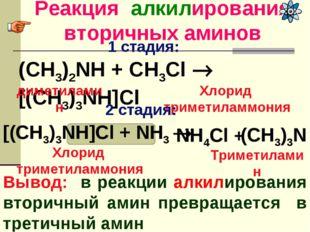 Реакция алкилирования вторичных аминов Вывод: в реакции алкилирования вторичн