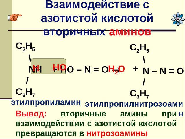 Взаимодействие с азотистой кислотой вторичных аминов Вывод: вторичные амины п...