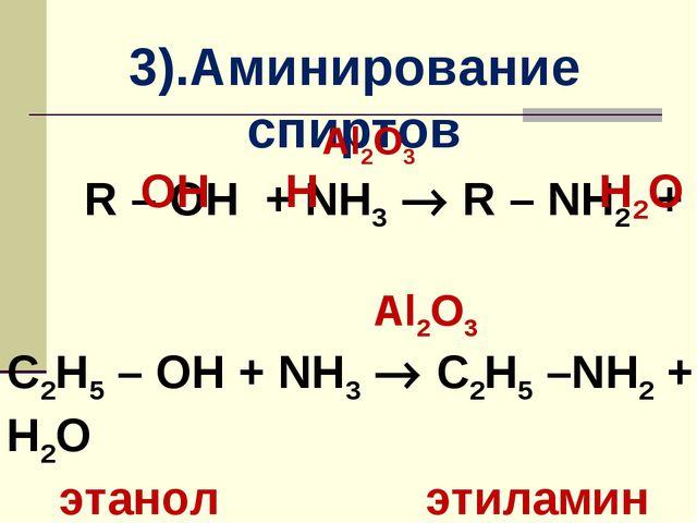3).Аминирование спиртов Al2O3 R – OH + NH3  R – NH2 + Al2O3 C2H5 – OH + NH3...
