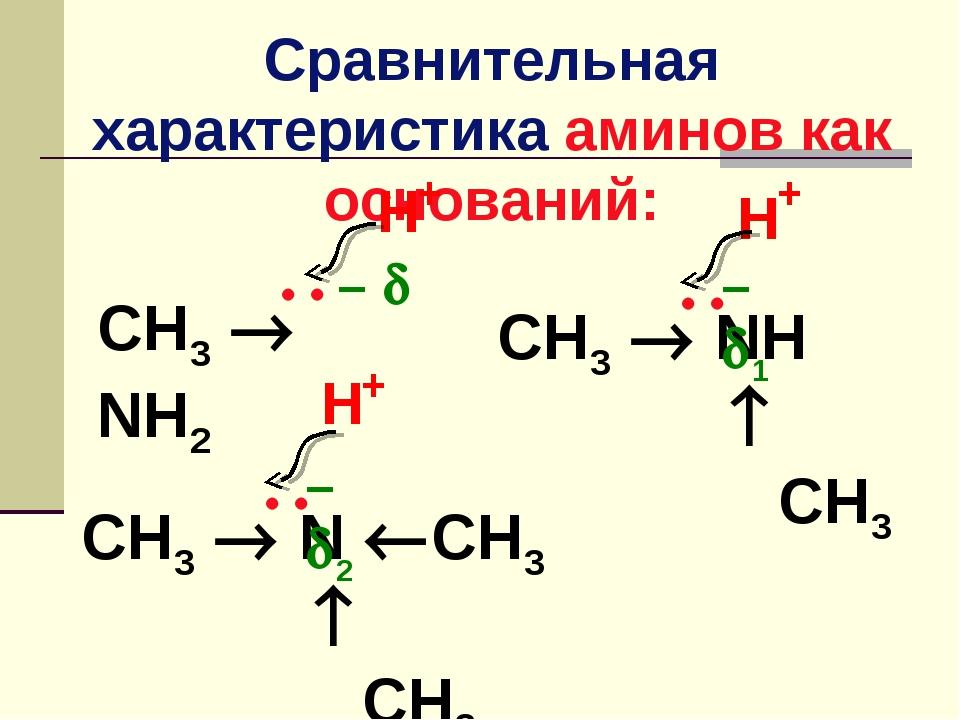 Сравнительная характеристика аминов как оснований: CH3  NH2  –  CH3  NH ...