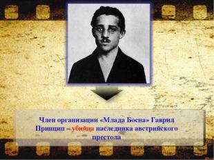 Член организации «Млада Босна» Гаврил Принцип – убийца наследника австрийског