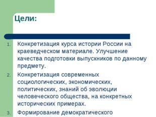 Цели: Конкретизация курса истории России на краеведческом материале. Улучшени