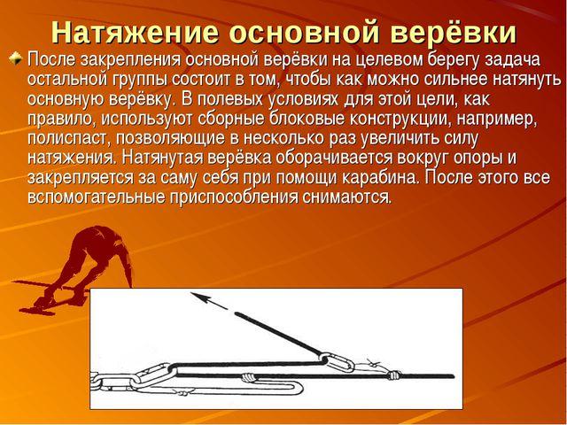 Натяжение основной верёвки После закрепления основной верёвки на целевом бере...