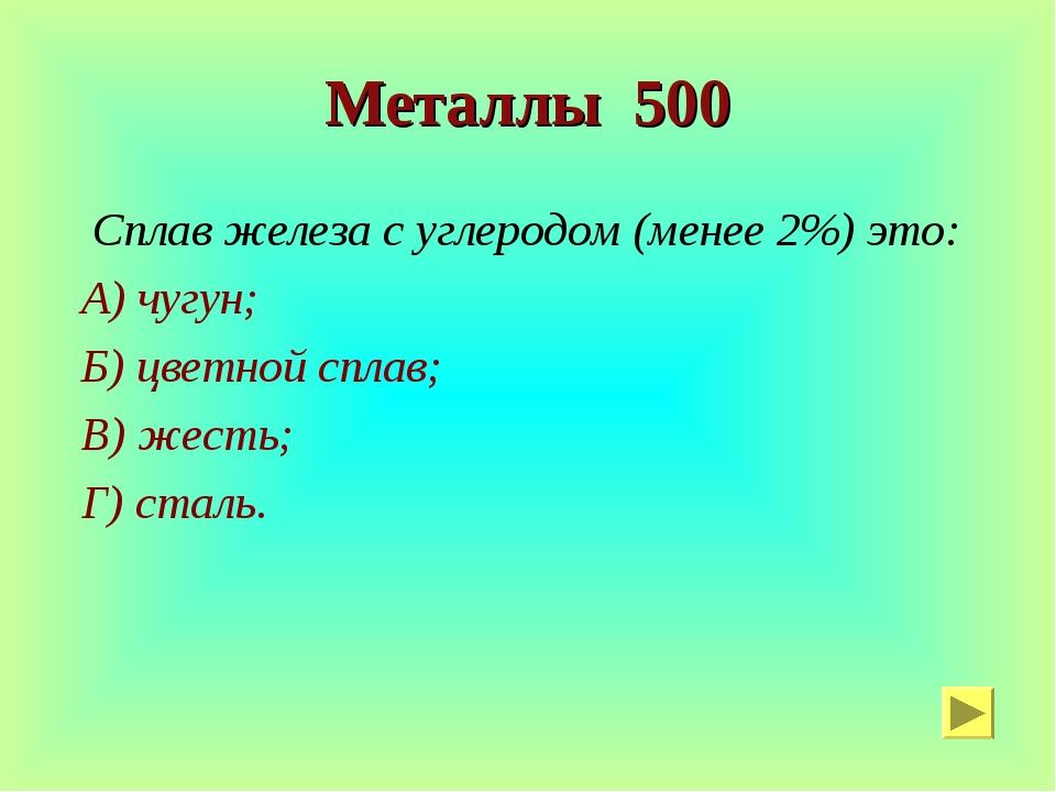 Металлы 500 Сплав железа с углеродом (менее 2%) это: А) чугун; Б) цветной спл...
