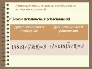 Логические законы и правила преобразования логических выражений. Закон исключ