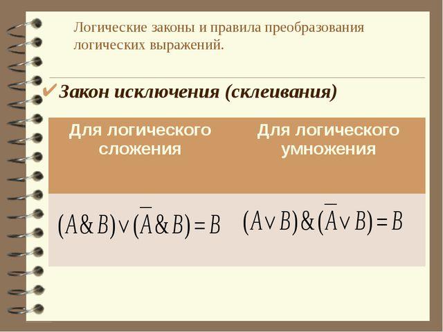 Логические законы и правила преобразования логических выражений. Закон исключ...