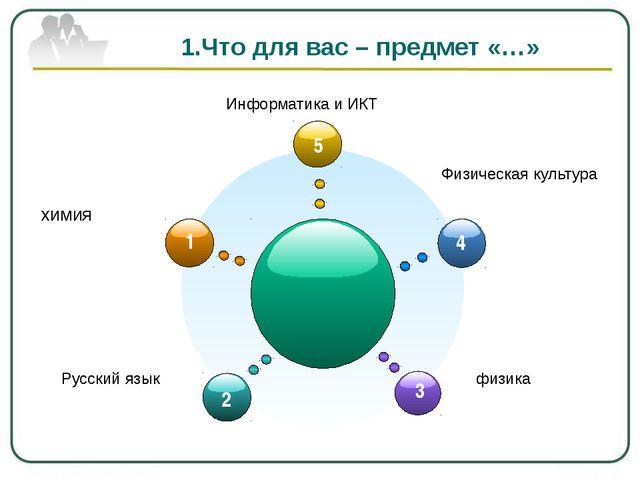 1.Что для вас – предмет «…» химия Русский язык физика Физическая культура Ин...
