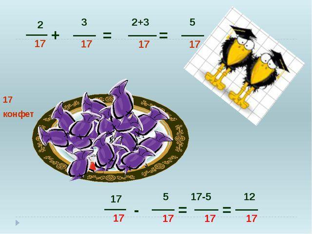 + = - = = 17 конфет 2 17 3 17 2+3 17 17 17 5 17 17-5 17 = 12 17