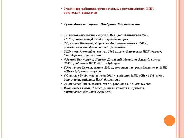 Участники районных, региональных, республиканских НПК, творческих конкурсов Р...