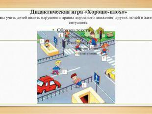Дидактическая игра «Хорошо-плохо» Цель: учить детей видеть нарушения правил д