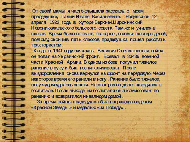 От своей мамы я часто слышала рассказы о моем прадедушке, Палий Иване Василь...