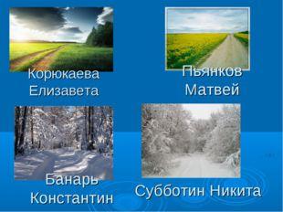 Корюкаева Елизавета Пьянков Матвей Банарь Константин Субботин Никита
