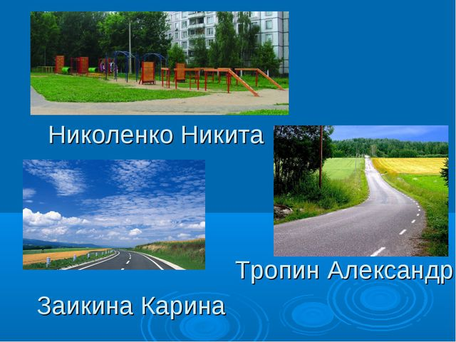 Николенко Никита Заикина Карина Тропин Александр