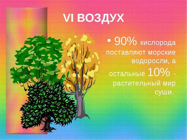 VI ВОЗДУХ 90% кислорода поставляют морские водоросли, а остальные 10% - расти...