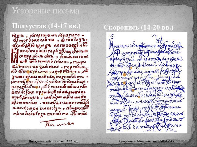 Полуустав (14-17 вв.) Скоропись (14-20 вв.) Ускорение письма Скоропись. Минея...