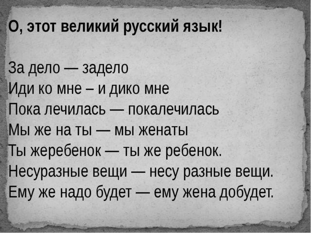 О, этот великий русский язык! За дело — задело Иди ко мне – и дико мне Пока...