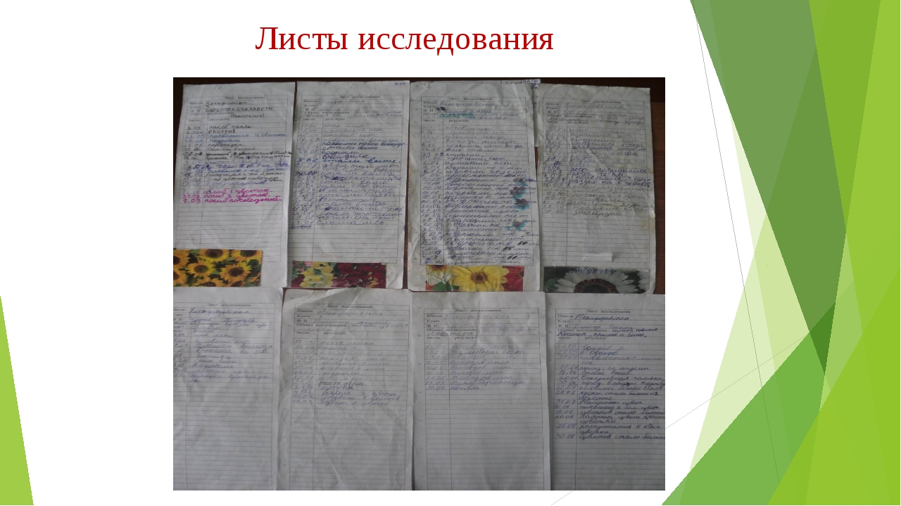 Листы исследования