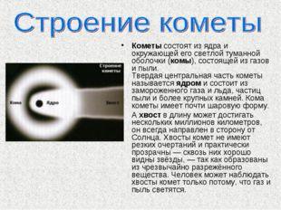 Кометы состоят из ядра и окружающей его светлой туманной оболочки (комы), сос