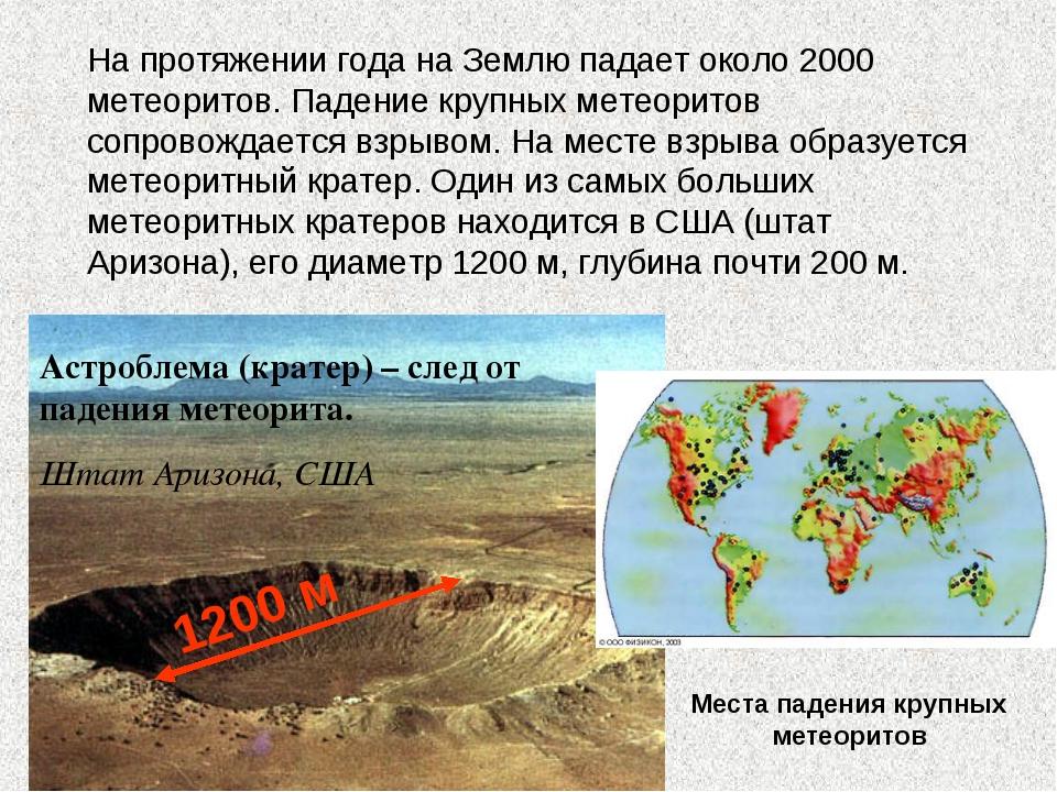 Астроблема (кратер) – след от падения метеорита. Штат Аризона, США 1200 м На...