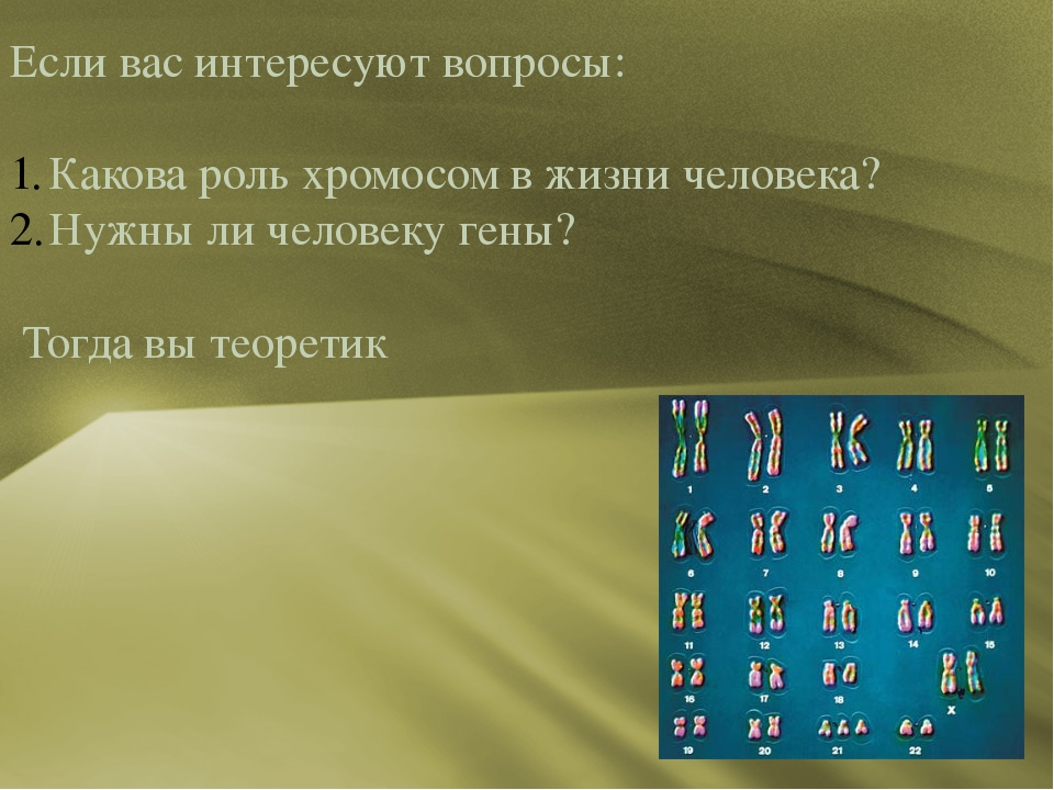 Есливасинтересуютвопросы: Какова роль хромосом в жизни человека? Нужны ли...