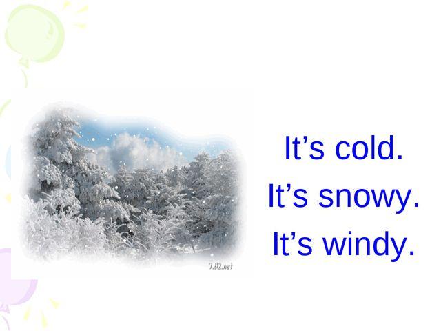 It's cold. It's snowy. It's windy.
