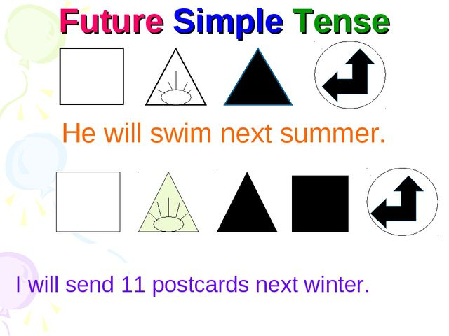 Future Simple Tense He will swim next summer. I will send 11 postcards next w...
