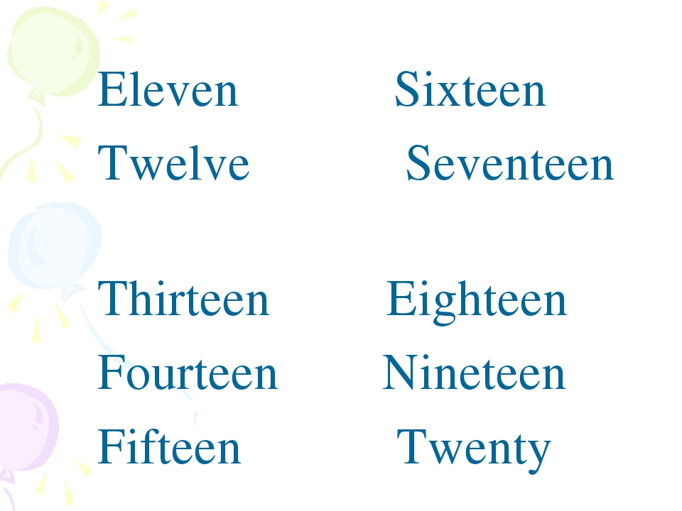 Eleven Sixteen Twelve Seventeen Thirteen Eighteen Fourteen Nineteen Fifteen T...