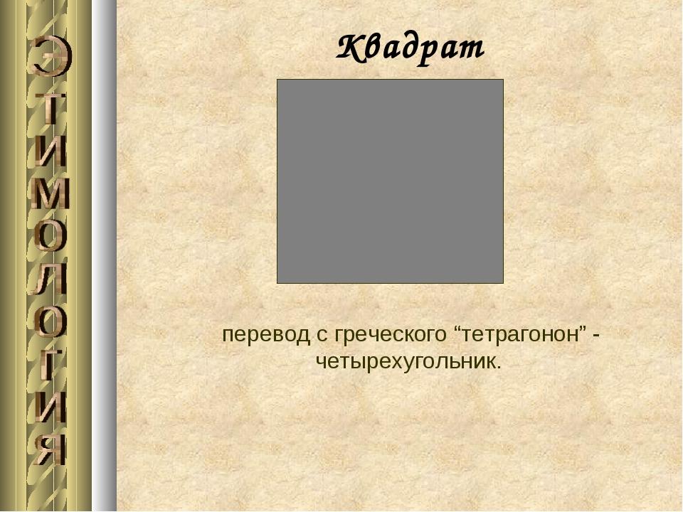 """Квадрат перевод с греческого """"тетрагонон"""" - четырехугольник."""