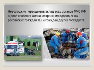 Невозможно переоценить вклад всех органов МЧС РФ в дело спасения жизни, сохра