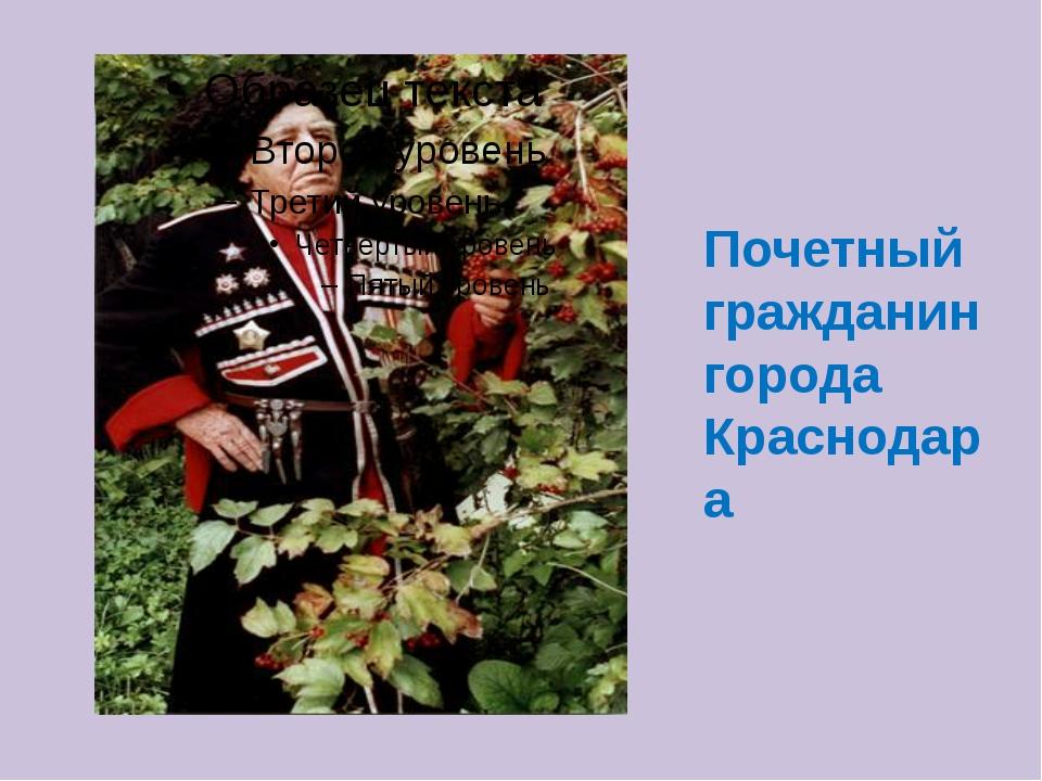 Почетный гражданин города Краснодара