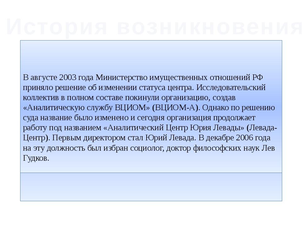 История возникновения Коллектив Левада-Центра начал складываться с1987года...