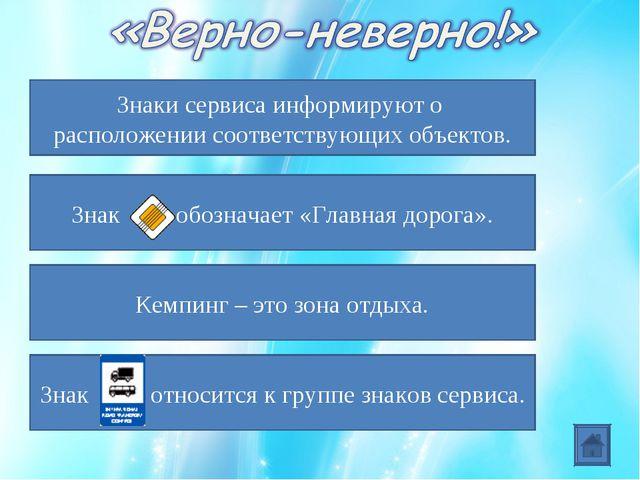 Знаки сервиса информируют о расположении соответствующих объектов. Знак обоз...