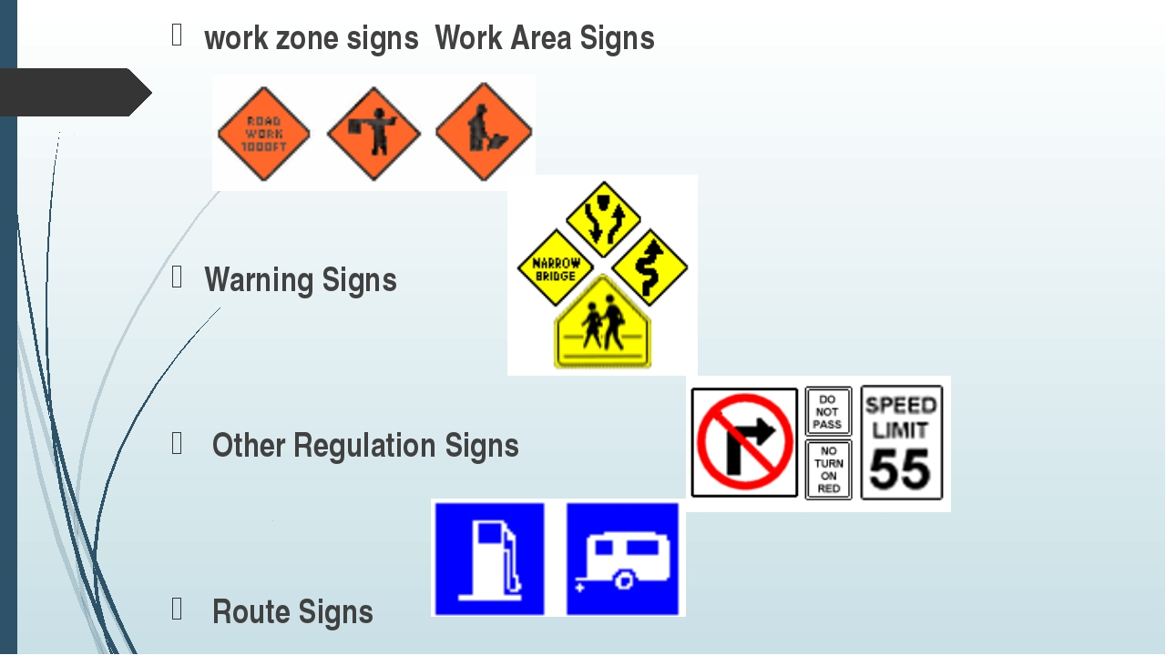 work zone signs Work Area Signs Warning Signs Other Regulation Signs Route Si...