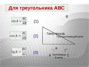 Для треугольника АВС (1) (2) (3) Гипотенуза Прилежащий катет Противолежащий к
