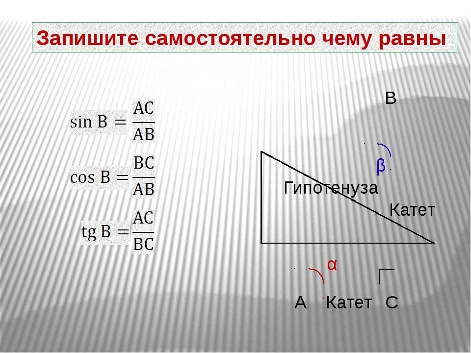 Запишите самостоятельно чему равны β Гипотенуза Катет Катет А В С α