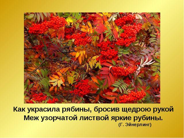 Как украсила рябины, бросив щедрою рукой Меж узорчатой листвой яркие рубины....