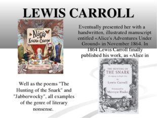 LEWIS CARROLL Eventually presented her with a handwritten, illustrated manusc