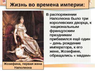 В распоряжении Наполеона было три королевских дворца, к национальным французс