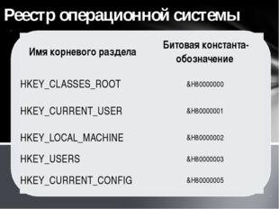 Реестр операционной системы Имя корневого раздела Битовая константа-обозначен