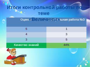 Итоги контрольной работы по теме «Величины» Оценка Контрольная работа №3 5 1
