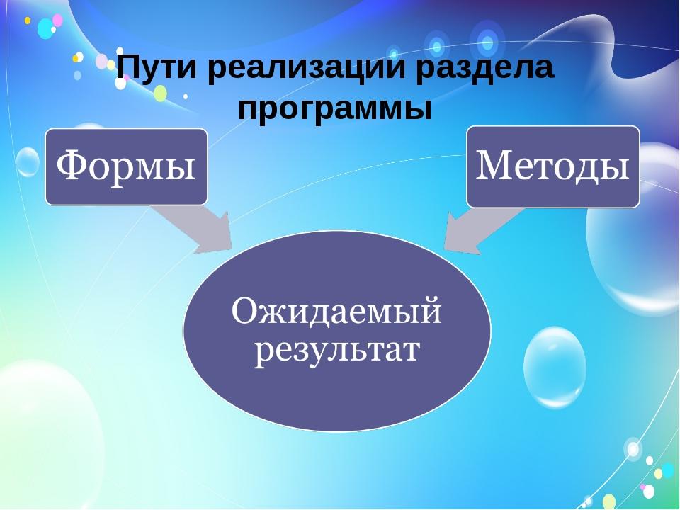 Пути реализации раздела программы