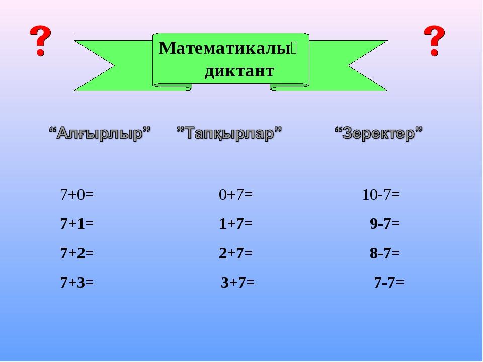 Математикалық диктант 7+0= 0+7= 10-7= 7+1= 1+7= 9-7= 7+2= 2+7= 8-7= 7+3= 3...