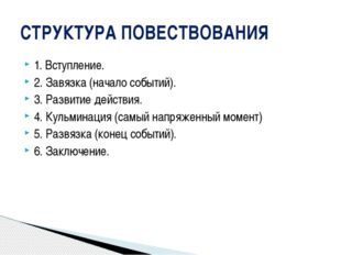 1. Вступление. 2. Завязка (начало событий). 3. Развитие действия. 4. Кульмина